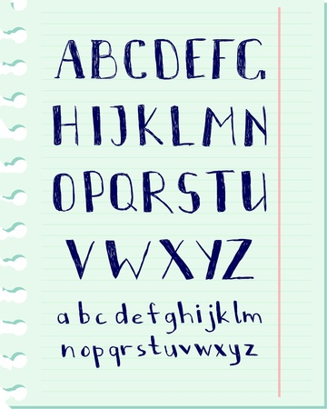 Vector pen written alphabet on a blue paper