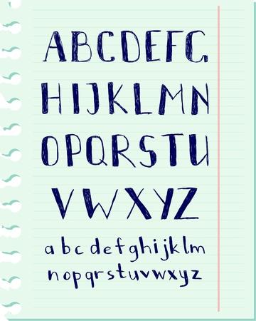 Vector pen written alphabet on a blue paper