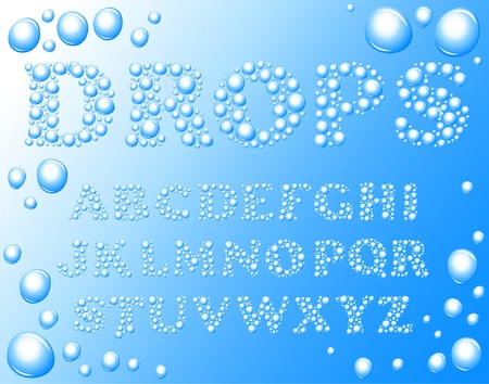 water drops alphabet on a blue background