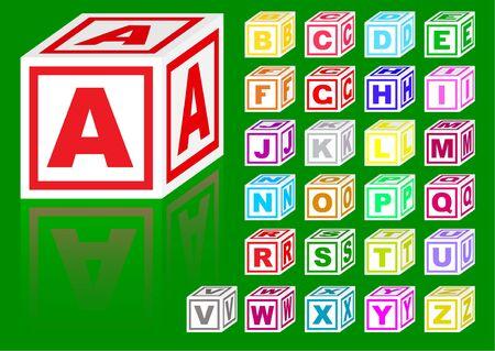 red cube: alfabeto di cubi di colore su uno sfondo verde