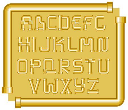 alphabet entonnoirs dor�e sur fond jaune