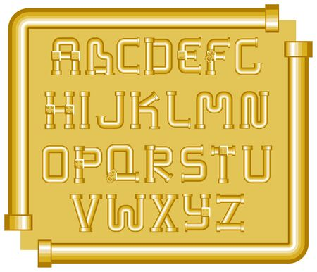 sewer pipe: golden funnels alphabet on a yellow background