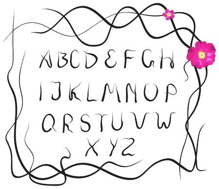eglantine: black plant alphabet on a white background