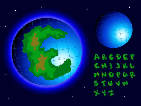 earth alphabet on a space background Stock Photo - 9214410