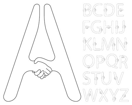 Alphabet de contour handshake vecteur de couleurs noir et blancs.
