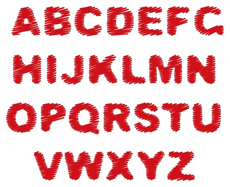 red marker alphabet on a white background Stock Vector - 9355346