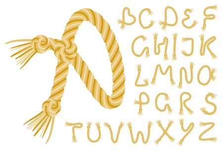 alphabet de la corde sur un fond blanc