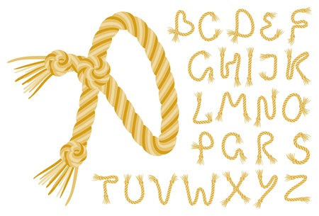 rope alphabet on a white background