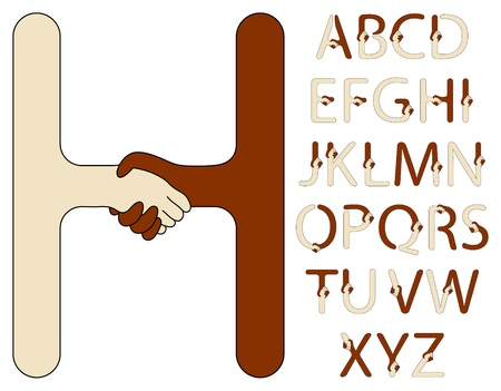 handshake alphabet of a brown and beige hands Illustration