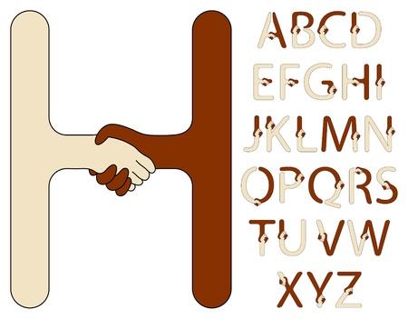 equal to: handshake alphabet of a brown and beige hands Illustration