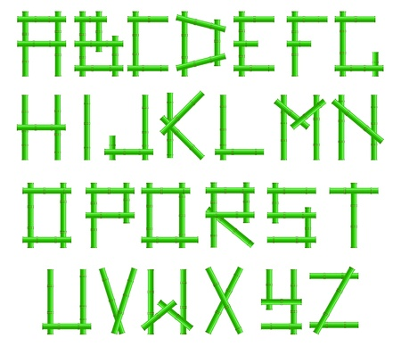 green bamboo alphabet in the frame Stock Vector - 9355381