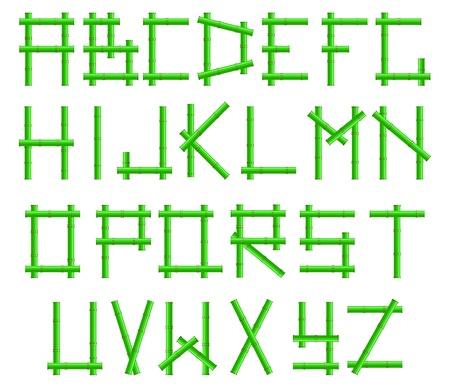green bamboo alphabet in the frame Stock Vector - 9355381