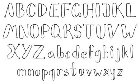 Vector vintage contour sketch alphabet on a white background Stock Vector - 9469986