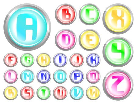 Vector transparent buttons alphabet on a white background Stock Vector - 9577734