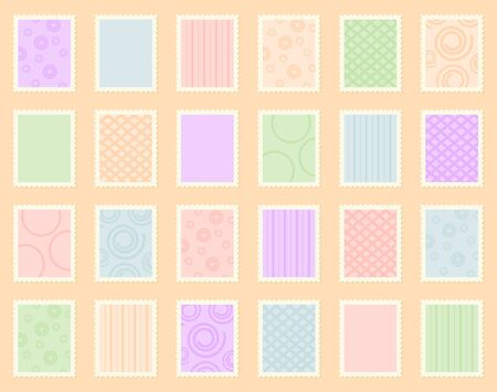 The stamps collection of the different colors Stock Photo - 9577736