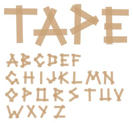 adhesive: Alfabeto de la cinta adhesiva Vectores