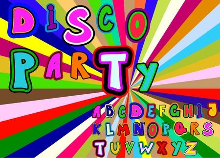 Disko party alphabet Stock Vector - 10796654