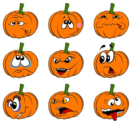 cartoon face: Pumpkins Illustration
