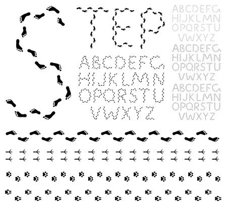 animal track: Footprint alphabet Illustration