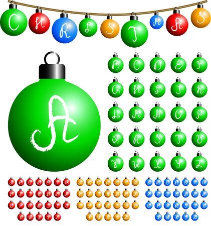 Christmas balls alphabet Stock Vector - 11295465