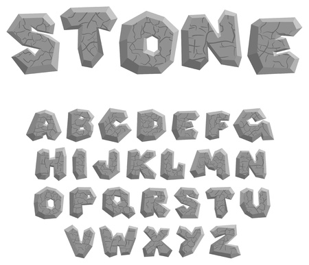 set in stone: Vector cracked stone alphabet on a white background Illustration
