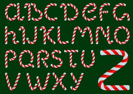 Vector Christmas candles alphabet on a green background Vector