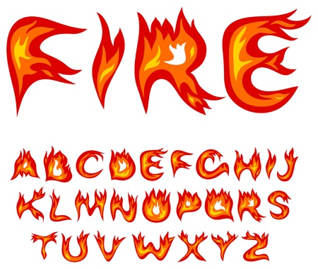 Vector red flame alphabet on a white background Illustration