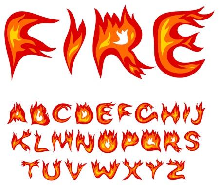 fiery font: Vector rote Flamme Alphabet auf wei�em Hintergrund