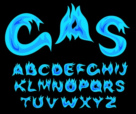 fiery font: Vector Gasflamme Alphabet auf einem schwarzen Hintergrund Illustration