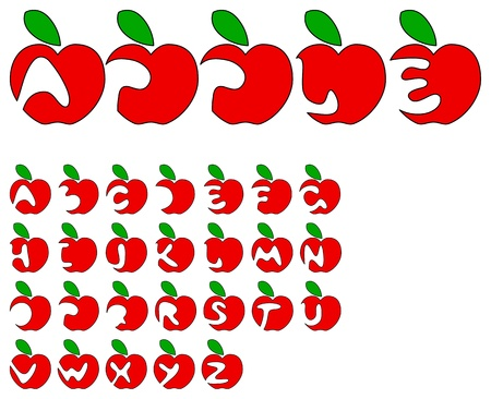 Vector red primitive apple alphabet on a white background Stock Vector - 11535813