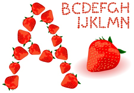 Vector strawberries alphabet on a white background Illustration