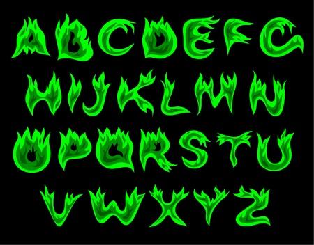 fiery font: Vector gr�ne Flamme Alphabet auf einem schwarzen Hintergrund