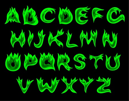 fire alphabet: Vector green flame alphabet on a black background