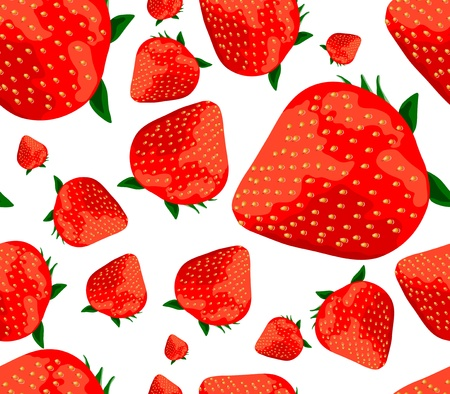 Vector bright red realistic strawberries seamless background Stock Vector - 11814621