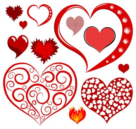 red love heart with flames: Vector corazones est�n aislados en un fondo blanco