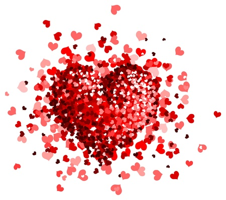 love explode: Vector hearts heap is isolated on a white background