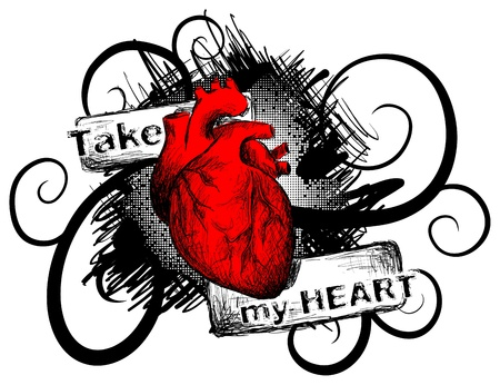 gothic heart: Vector realistic heart on a grunge background Illustration