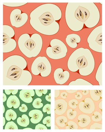 yellow apple: Vector red, green and yellow apple seamless background set