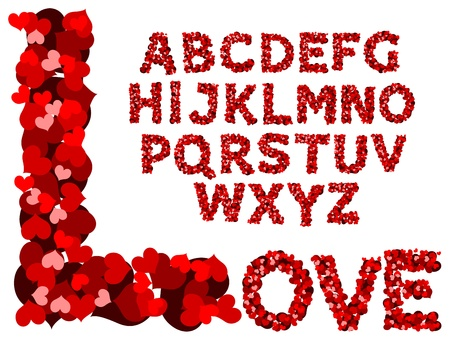 Vector red hearts alphabet on a white background Vector