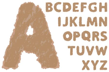 cartone strappato: Vector alfabeto di cartone lacerato su uno sfondo bianco
