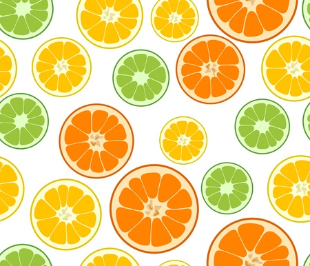 Vector lemon, lime and orange seamless background Illustration