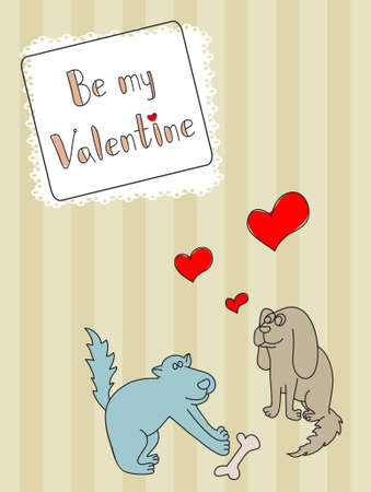 Two vector dogs with hearts on the brown background Vector