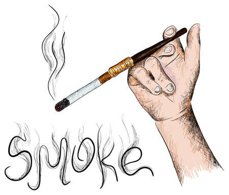 mouthpiece: Vector color hand with a cigarette on a white background Illustration