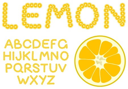 Vector lemon alphabet on a white background Vector