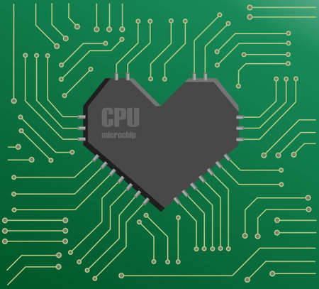 Vector green motherboard with a heart shape CPU Vector