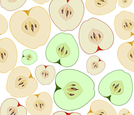 yellow apple: Vector red, green and yellow apple seamless background