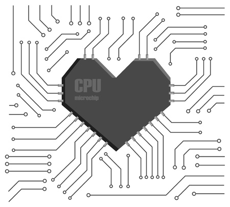 silicon: Vector motherboard with a heart shape CPU