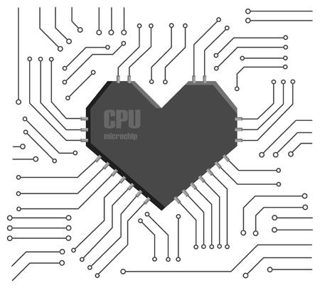 Vektor-Motherboard mit einer Herzform CPU Vektorgrafik