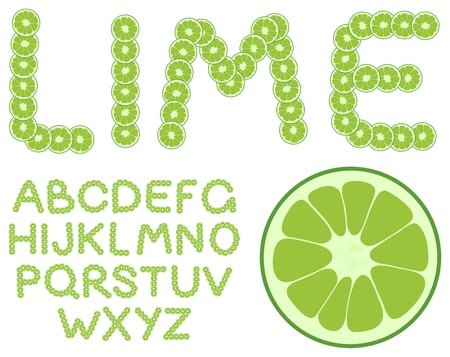 Vector lime alphabet on a white background
