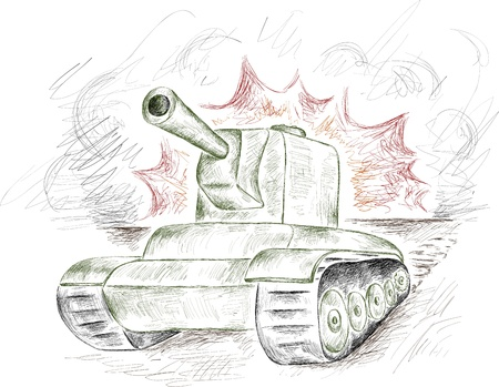 panzer: stroke green tank on a fire and smoke background